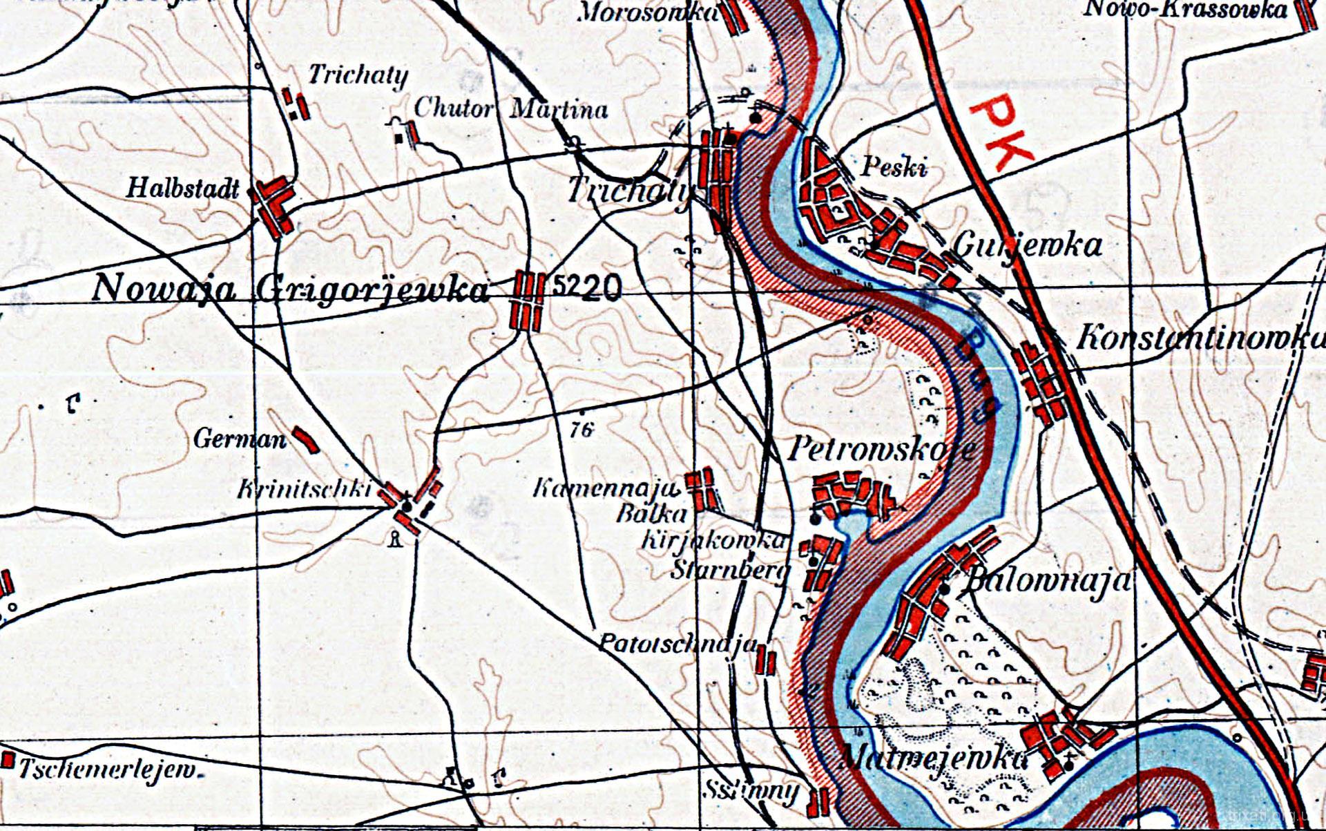 Шлях вузькоколейки на німецькій мапі
